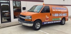 Water and Mold Damage Eradication Van Ready At Job Site